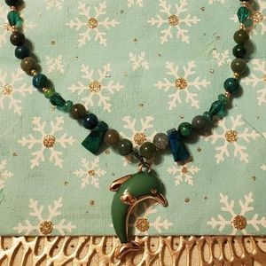 Hunter Green Glass Beaded necklace w/ Dolphin